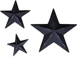 YL Crafts - Metal Star Wall Decoration Mounted Wall Art 3pcs/Set (Black)