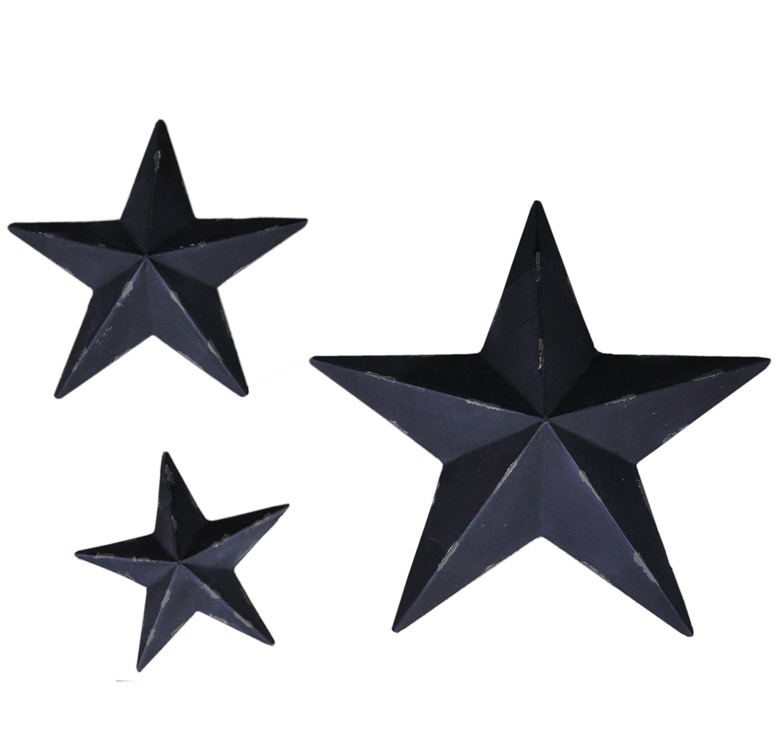 YL Crafts - Metal Stars Wall Decoration Mounted Wall Art 3pcs/set (Black) by Yun&Lin Crafts