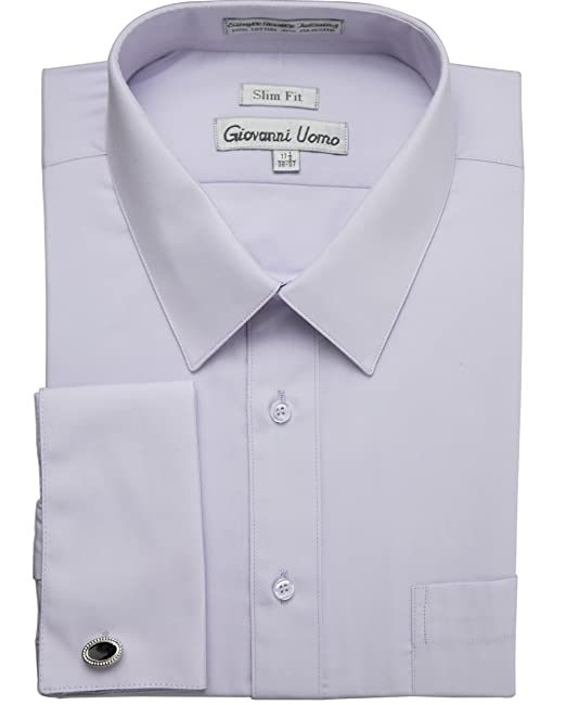 5697405293f4 Gentlemens Collection Men's Slim Fit French Cuff Solid Dress Shirt - Colors  (Cufflink Included) at Amazon Men's Clothing store: