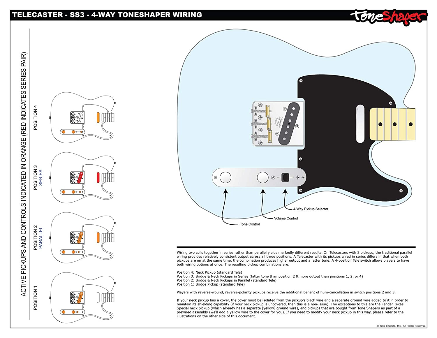ToneShaper Guitar Wiring Kit, For Fender Telecaster, SS3 (4-Way ToneShaper on fender squier stratocaster wiring-diagram, typical 3-way switch diagram, fender telecaster custom wiring diagram, fender guitar wiring diagrams, fender telecaster pickup wiring diagrams, telecaster texas special wiring diagram, fender p-bass wiring diagram, fender strat wiring diagram, fender 5 way tele switch wiring, 3 position toggle switch diagram, fender 4-way switch wiring, fender super switch wiring diagram,