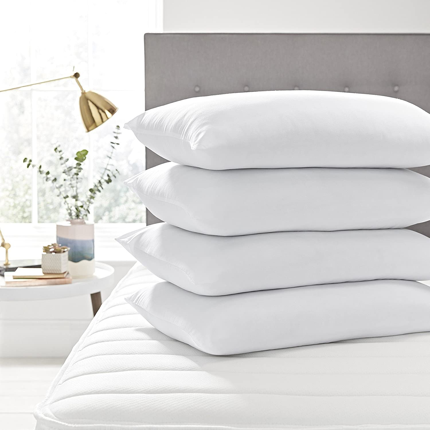 Brand New - Pack of 4 Pillow Protectors Covers Cases - Mildew Proof - Anti Allergy - White- Anti dustmite-Anti Bacterial-Hypoallergenic - Stain Resistant - Machine Washable - Standard Size Aaf Textiles