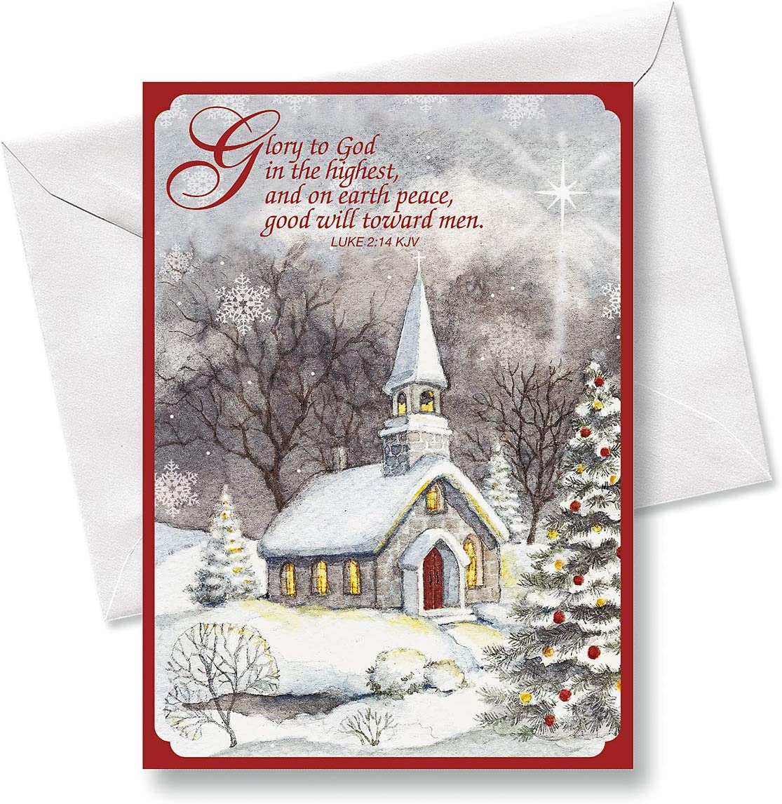 Snowy Church Religious Christmas Cards Holiday Greetings Includes Bible Verse Set Of 18 Cards And Envelopes By Current Office Products