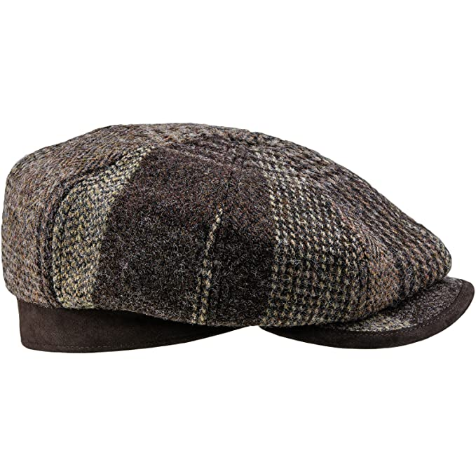 43435929bbcd0 Sterkowski Harris Tweed 8 Panel Gatsby Classic Flat Cap US 7 Brown Check   Amazon.in  Clothing   Accessories