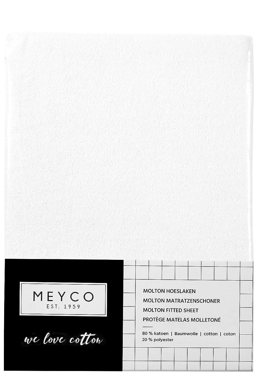 Meyco 563090 Molton Stretch Spannbetttuch 40x80//90 cm Wiege 80/% Baumwolle 20/% Polyester Weiss