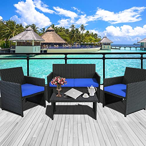 Valita 4-Piece Patio PE Wicker Furniture Set Outdoor Rattan Conversation Loveseat Sofa Armchair and Table Royal Blue Cushion