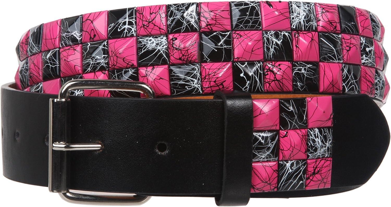 "Snap On 1 1/2"" Hot pink & Black Checkerboard Punk Rock Studded Belt"