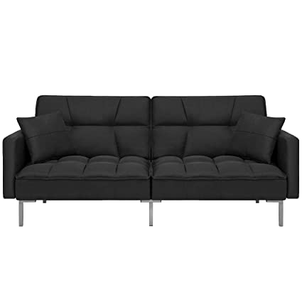 Best Choice Products Home Furniture Convertible Linen Tufted Splitback  Futon Couch W/ Pillows (Black