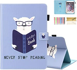 Dteck Tablet Universal Case, Wallet Stand Flip Case for Samsung Galaxy Tab/Onn/Lenovo Tab/Dragon Touch/Vankyo MatrixPad/LG G Pad/Huawei MediaPad/Android Tablet 8 8.3 8.4 Inch, Sheep Reading