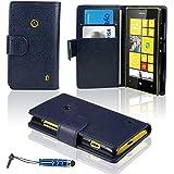 Etui Nokia Lumia 520 - SAVFYà - Housse de Protection en PU Cuir Portefeuille + FILM D'ECRAN + STYLET OFFERTS! Lot 3en1 Accessoires Pochette Coque Case Pour Nokia Lumia 520 - Bleu