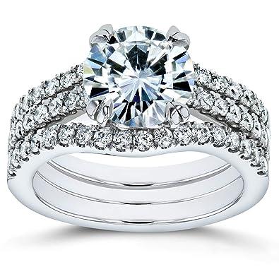 Amazon.com: Forever One - Juego de 3 anillos de novia de ...