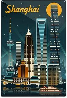 product image for Lantern Press Shanghai, China, Retro Skyline (12x18 Aluminum Wall Sign, Wall Decor Ready to Hang)