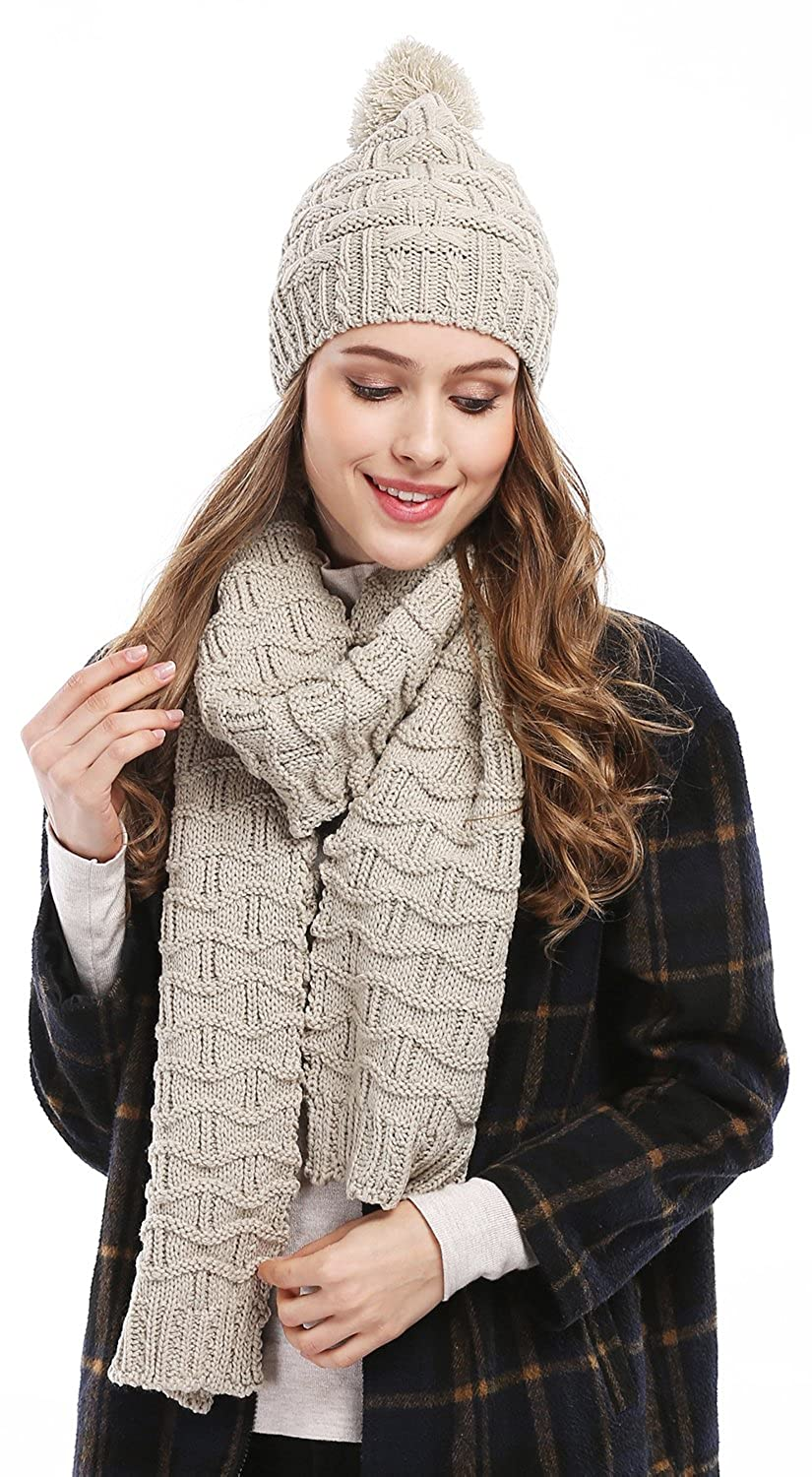 945c7caa9680f Bienvenu Women Fashion Winter Warm Knitted Scarf and Hat Set Skullcaps,  Beige at Amazon Women's Clothing store: