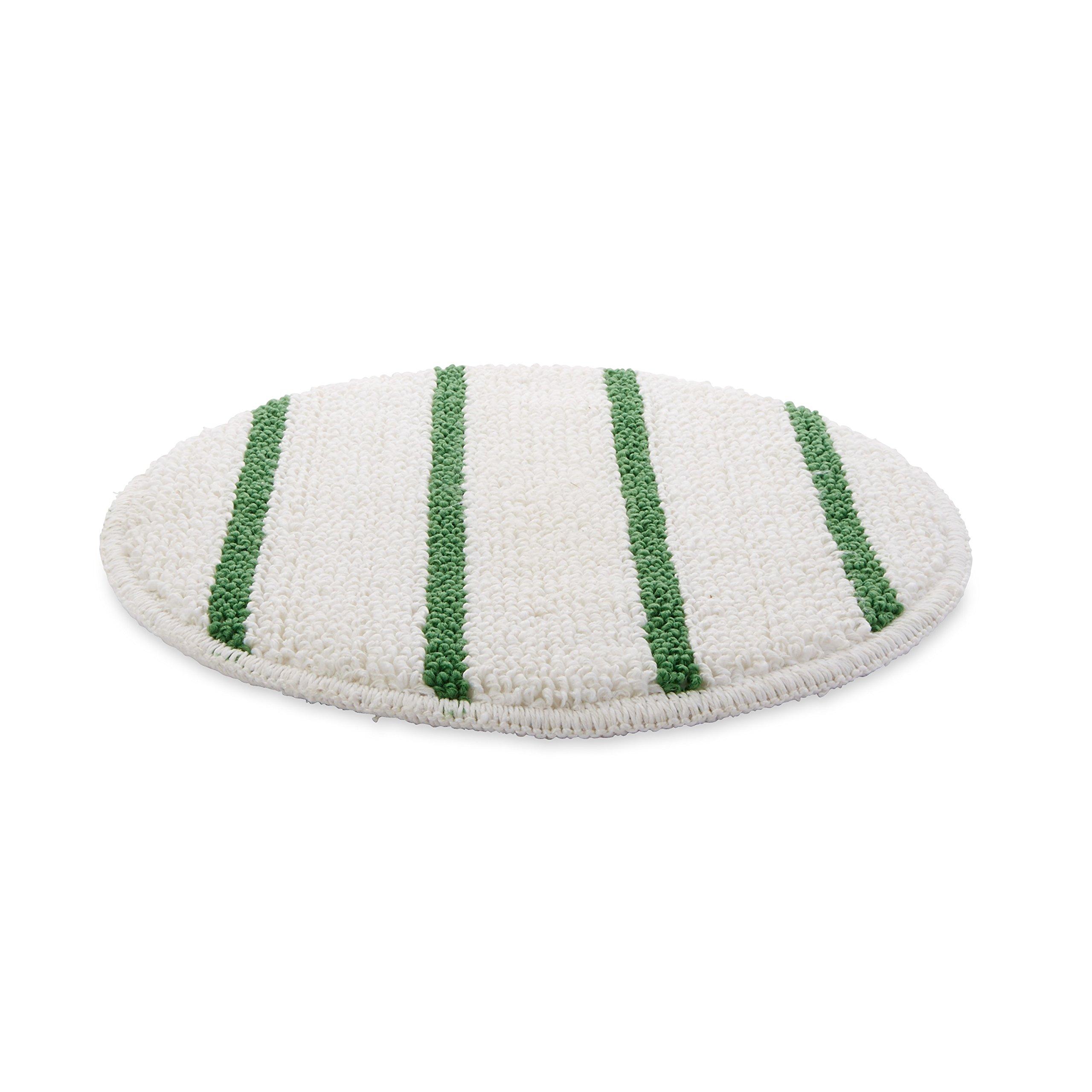 Rubbermaid Commercial Low-Profile Carpet Bonnet with Green Scrubber Strips, 17'', FGP26700WH00