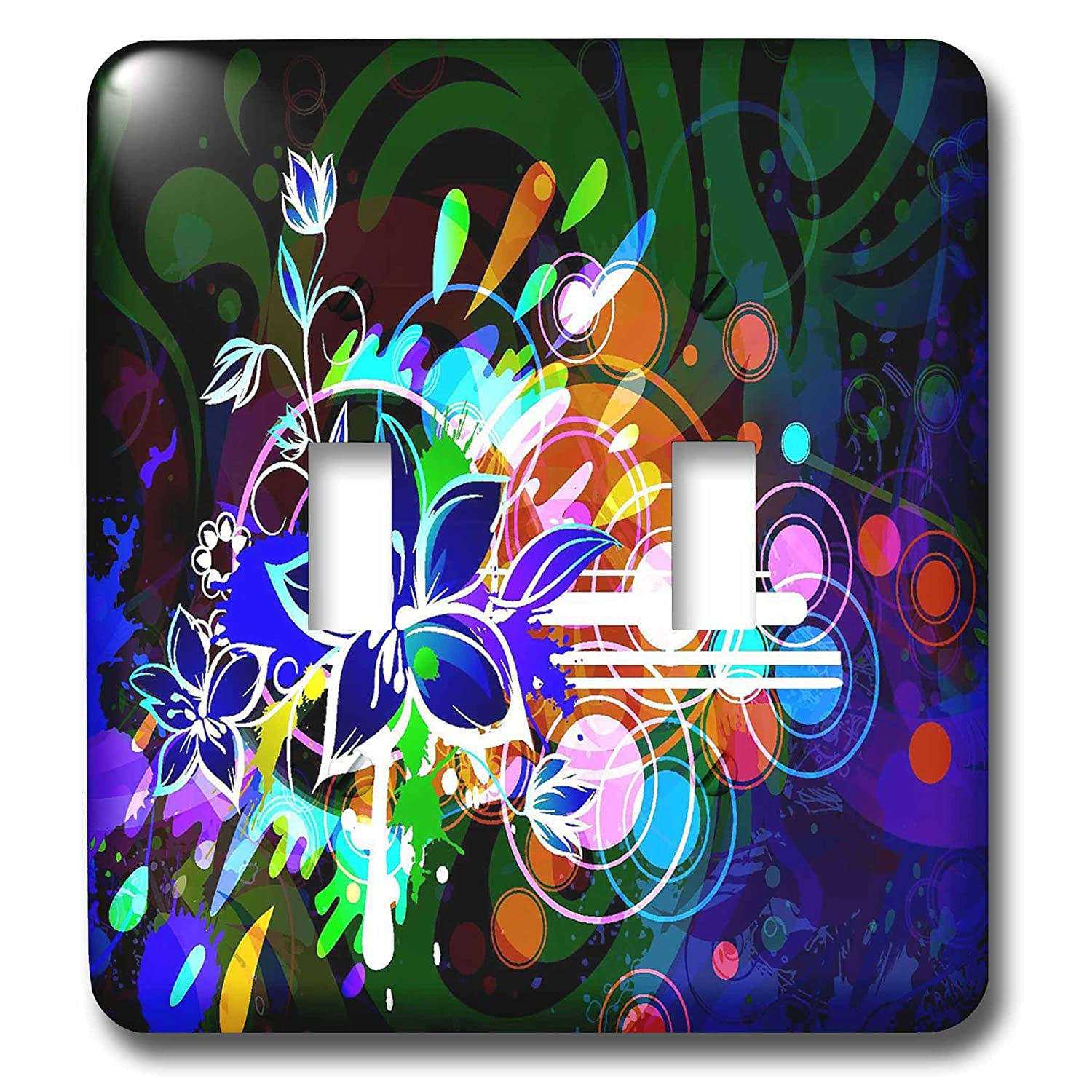 3dRose lsp_66093_2 Blue, Green, Purple Flower Burst Double Toggle Switch Multicolor