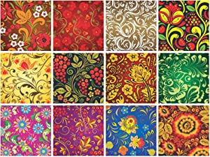 PARTH IMPEX Mexican Talavera Decorative Floral Stickers - (Pack of 24) 6x6 Inch Backsplash Peel and Stick Vinyl Tile Decals for Kitchen Wall Stairs Furniture Staircase DIY Home Decor