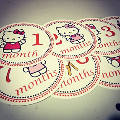 Monthly Baby Stickers. Hellokitty Onesie Month Stickers. Hello Kitty, Kitty, Kittycat: Kitchen & Dining