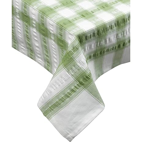 Perfect Seersucker Square Checked Tablecloth 36u201d X 36u201d Cotton Check Table Linen  (Sage Green