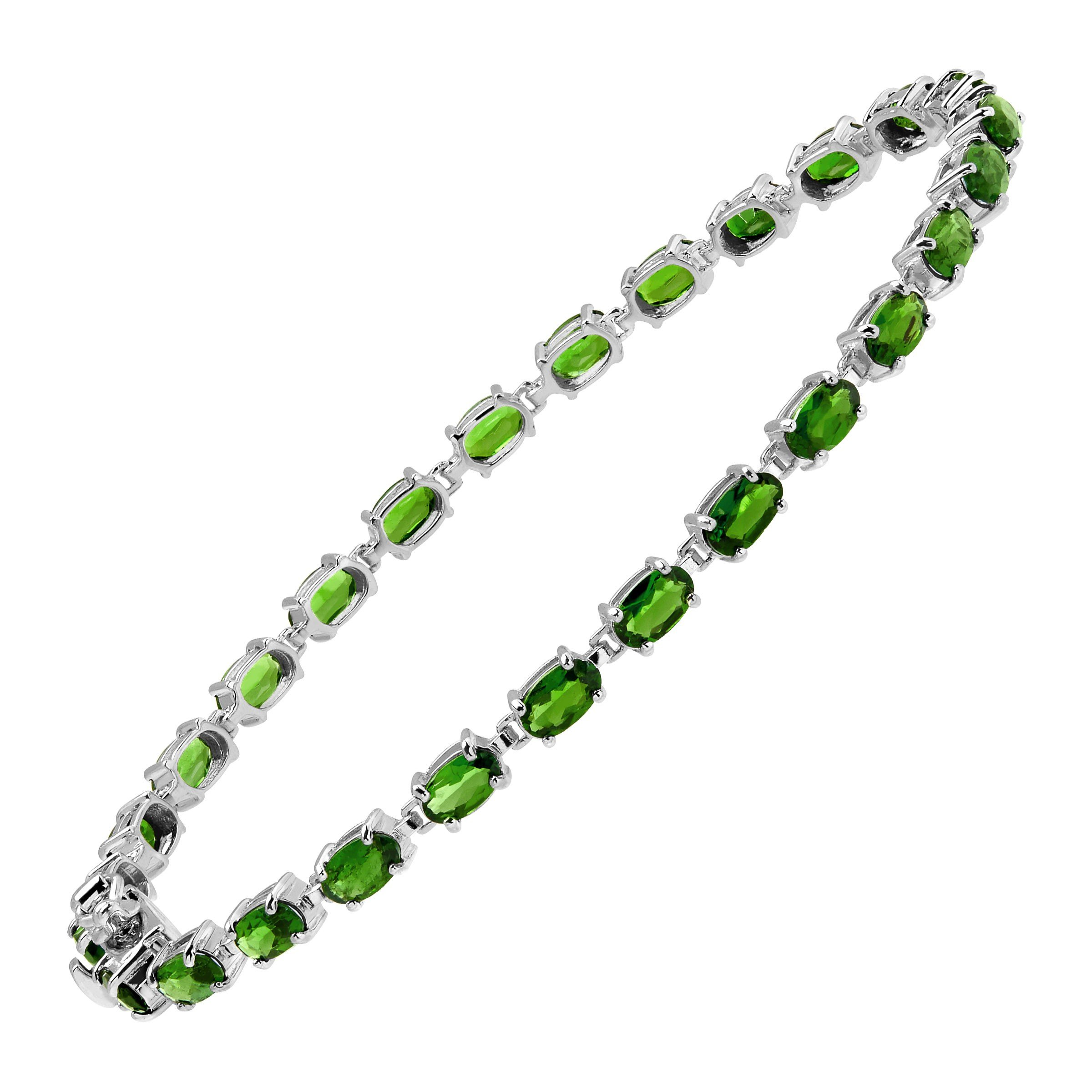 5 1/2 ct Natural Chrome Diopside Tennis Bracelet in Sterling Silver, 7.25''