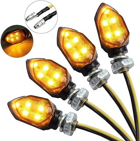 Justech 4 Universal Flie/ßende Wasserdichte Motorrad Motorrad LED Blinker Licht Blinker Bernstein