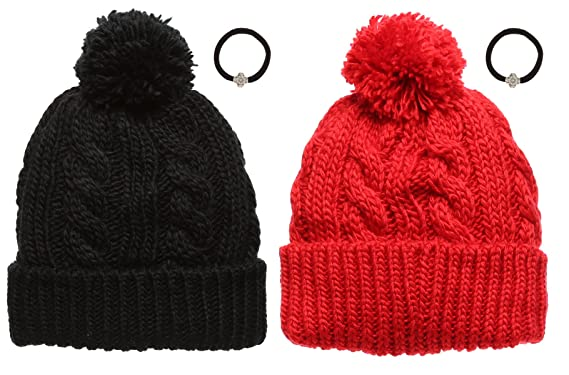 Women s Cable Knitted Fleece Lined Pom Pom Beanie Hat with MirMaru Hair  Tie. (BLACK  e1c5052ce