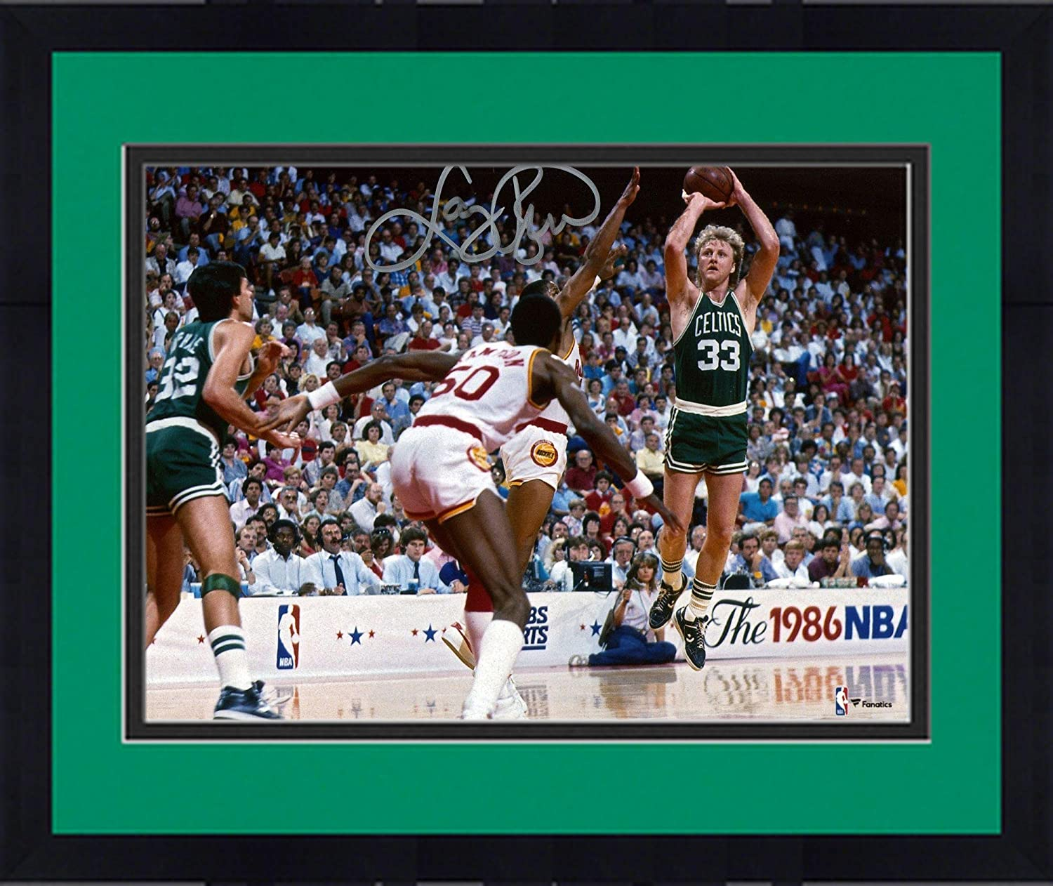Framed Larry Bird Boston Celtics Autographed 8' x 10' 1986 NBA Finals Photograph - Fanatics Authentic Certified