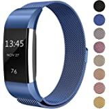 """SWEES Metal Bands Compatible Fitbit Charge 2, Milanese Stainless Steel Metal Magnetic Replacement Wristband Small & Large (5.5"""" - 9.9"""") Women Men, Silver, Champagne, Rose Gold, Black, Colorful"""
