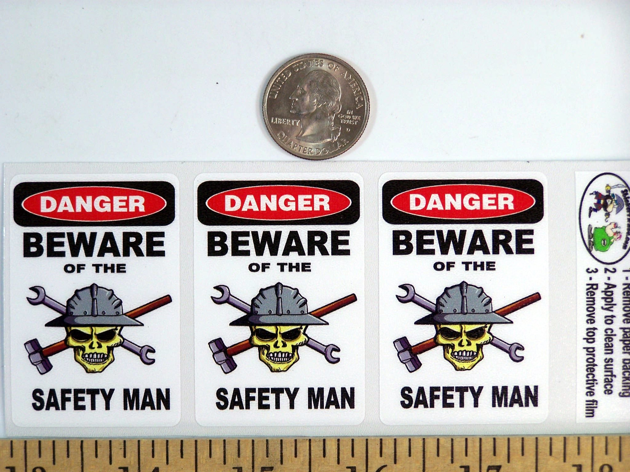 """3 – Danger Beware of The Safety Man 1.5"""" x 2.25"""" Hard Hat Stickers H384"""
