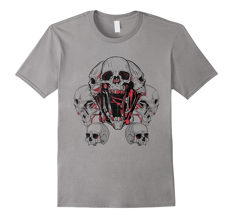 SKULLS - human skull - skeleton - horror - macabre t-shirt-FL