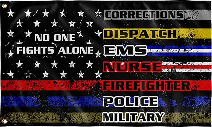 Xiaxiacole No One Fights Alone Flag 3x5 ft American Flag Garden Flags Thin Line Flag for Supporting Nurse Police Military Firefighters Home Room Garden Decor