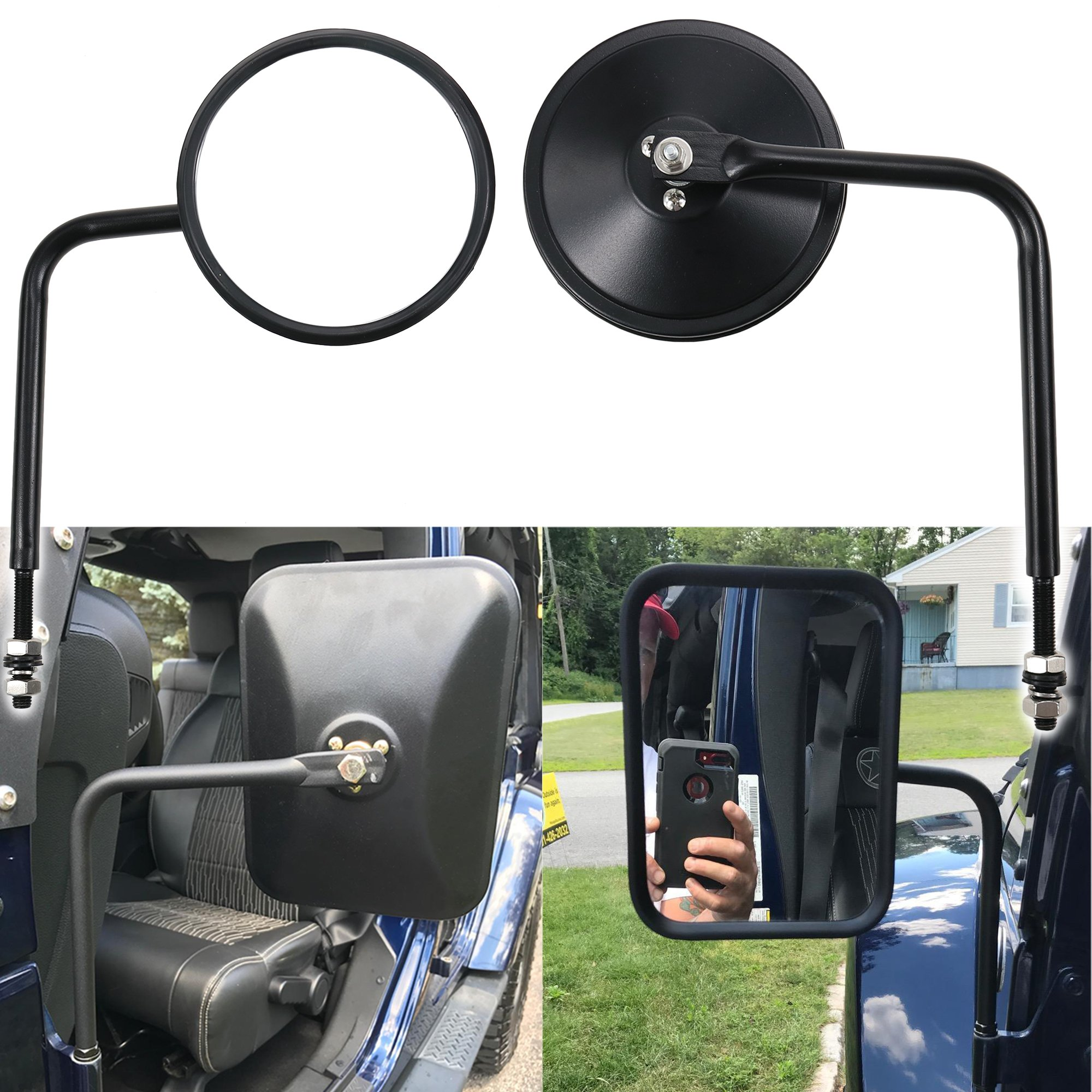 Door Off Side View Mirror Round Rear Mirrors Fit For 1997 Jeep 2018 Wrangler Tj