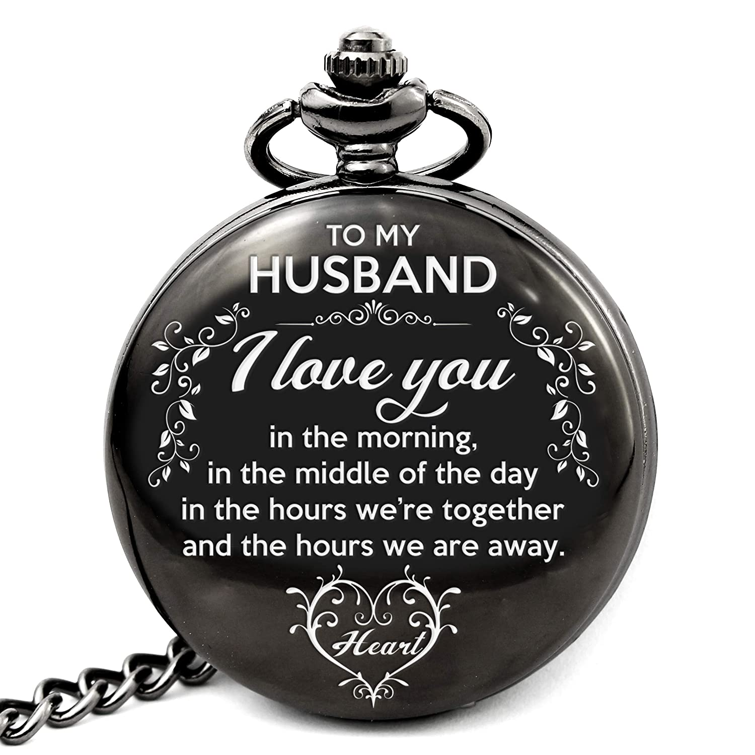 Memory gift Engraved pocket watch to husband, vintage style, best gift to husband for Valentine day, birthday, Christmas, Wedding Anniversary day.