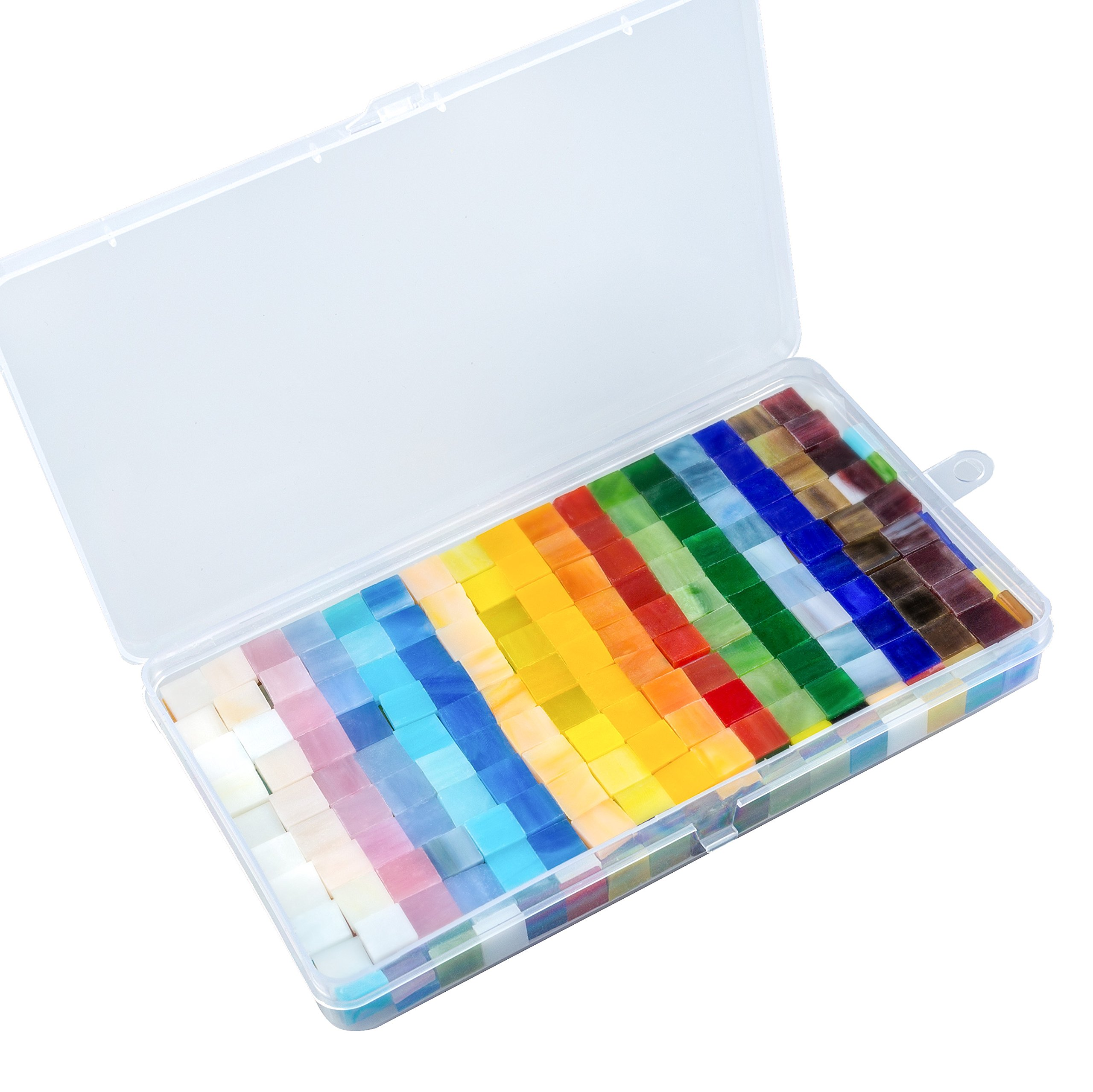 Resinta 300 g/ 450 Pieces Mixed Color Mosaic Tiles Mosaic Glass Pieces with Organizing Container for Home Decoration or DIY Crafts, Square, 1 by 1 cm