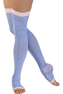 bc295b56d Lace Poet Purple Yoga Sleep Thigh-High Compression Toeless Socks Size L-XL