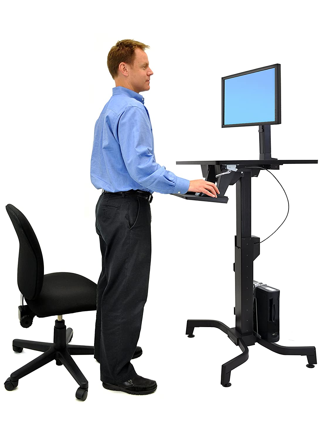 Ergotron 24-280-926 WorkFit-PD Sit-Stand Desk with 19.5-Inch Height Adjustment