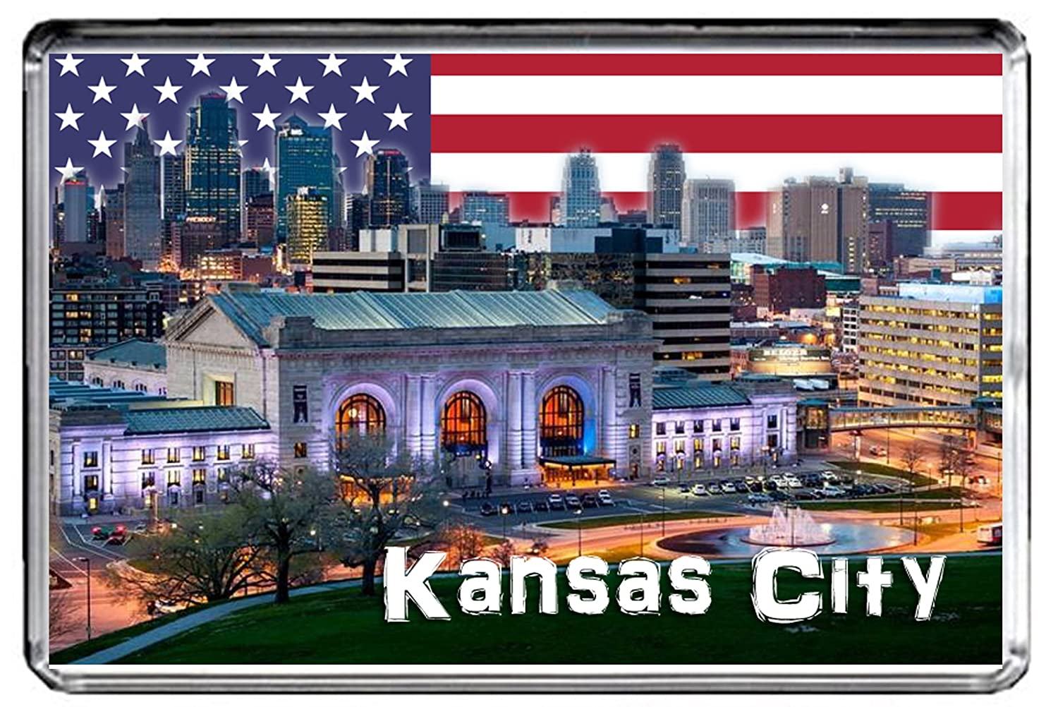 USA E376 KANSAS CITY FRIDGE MAGNET TRAVEL PHOTO REFRIGERATOR MAGNET
