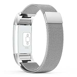 Fitbit Charge 2 Strap (6.7-8.1 inch) Large, with Unique Magnet Lock, PUGO TOP Milanese Loop Stainless Steel Bracelet Strap Band for Fitbit Charge 2 Smart Watch No Buckle Needed (Silver)