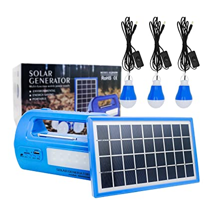 Solar Lighting System Protable DC Home SystemLight Kit Multifuncation Solar  Generator with Solar Panel 3 LED Light Bulb and 2 USB Charger Ports for