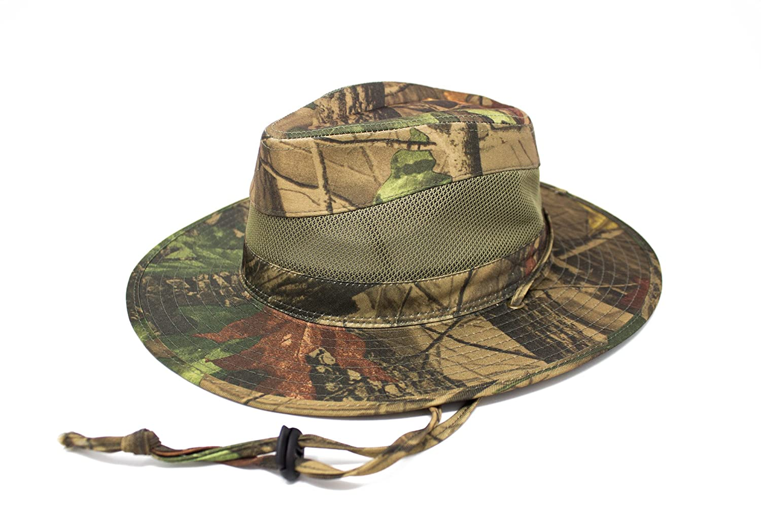 Dark Green Camouflage Pattern Mens Forest Camo Fedora Sun Hat with Air Vents