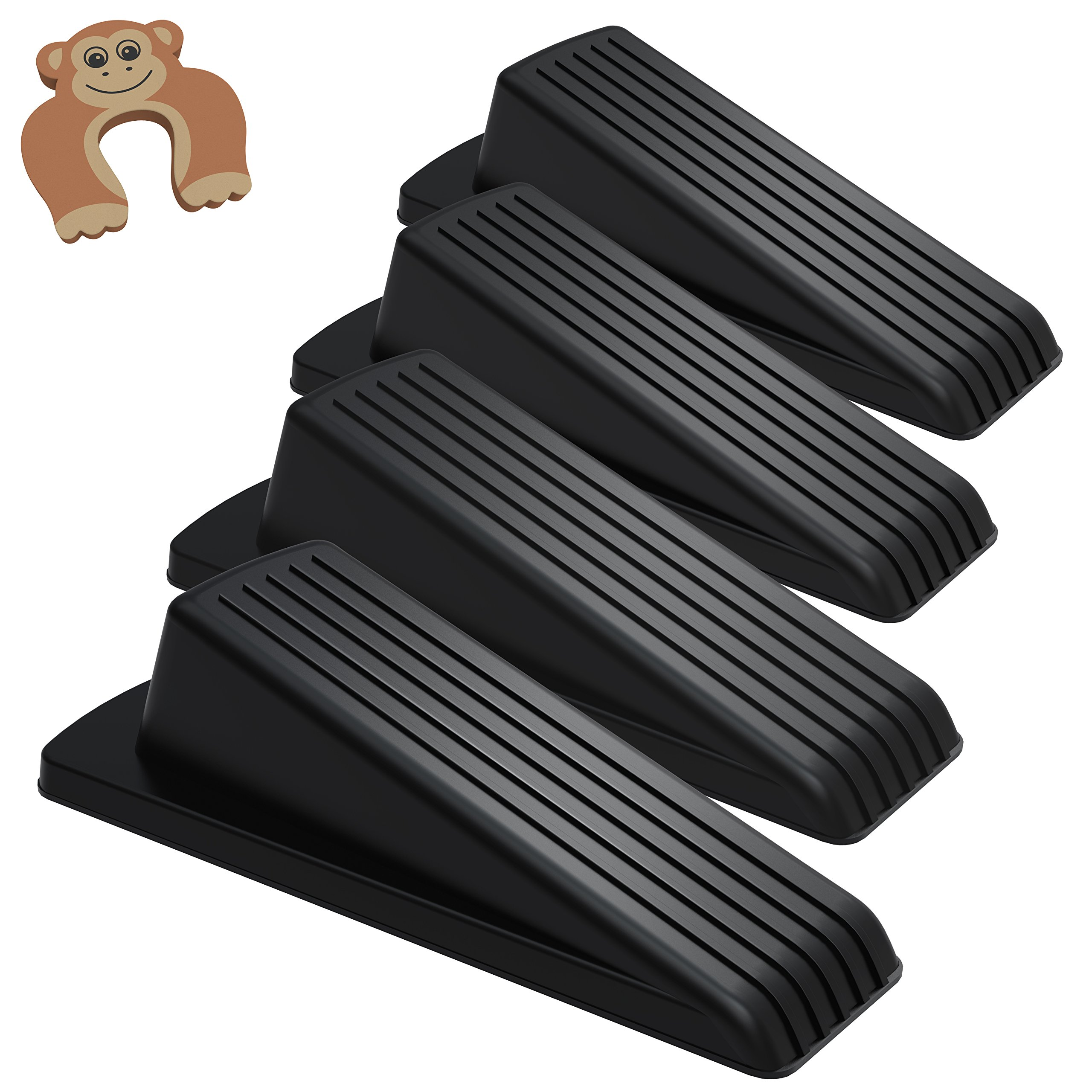 Door Stop, Ezire Premium Door Stopper Wedge Rubber With Finger Pinch Guard- Multi Surface, Non Scratching Slip Resistant Design- Gaps up to 1.2 Inches (Black 4+1Pack)