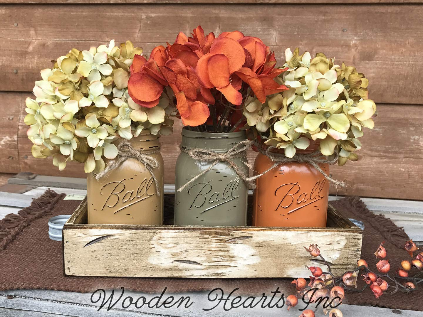 FALL Mason Canning JARS in Wood Antique White Tray Centerpiece with 3 Ball Pint Jar - Kitchen Table Decor - Distressed Rustic - Flowers (Optional) - Painted Jars Orange Mustard Brown Tan Green Yellow by Wooden Hearts