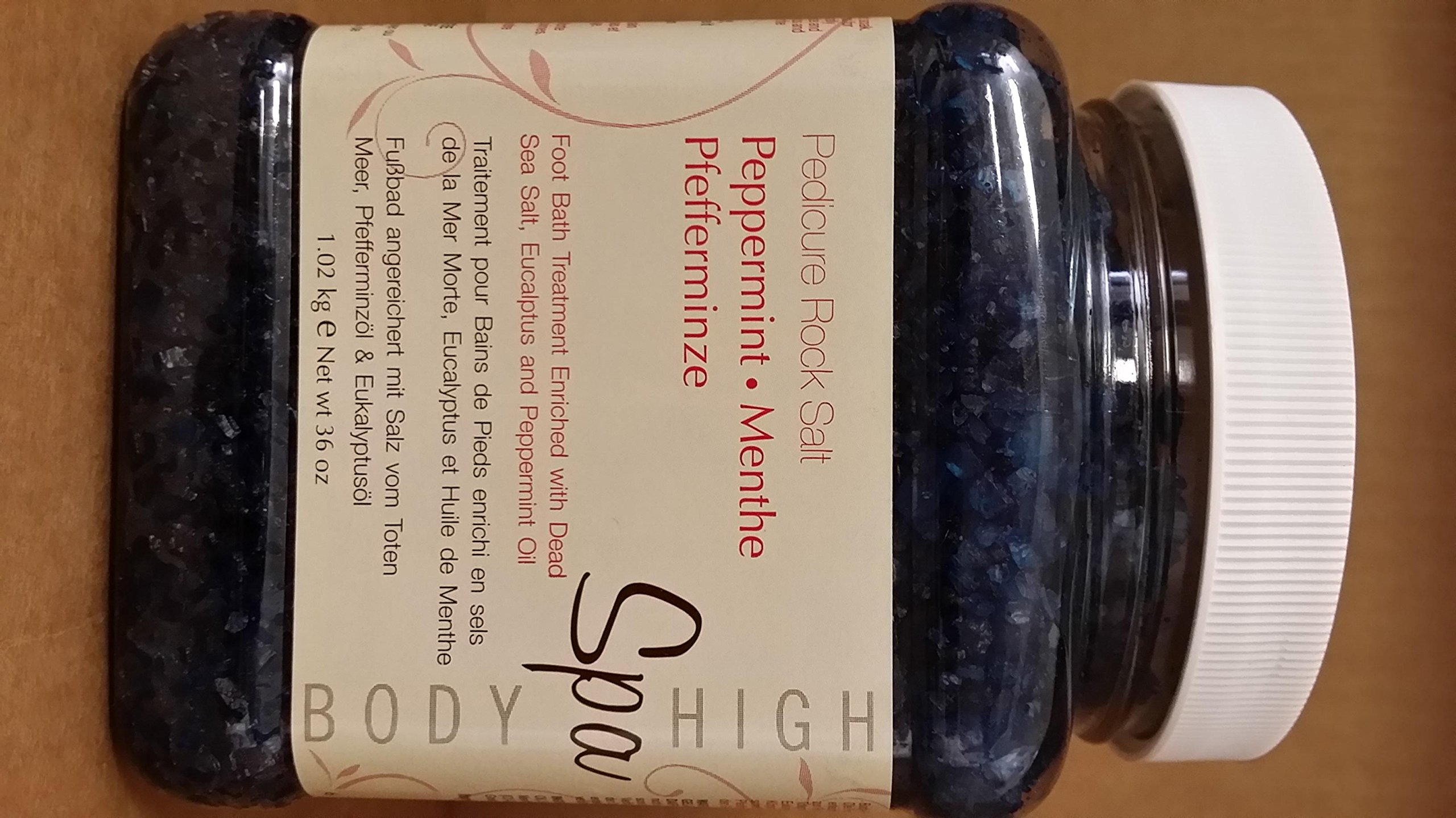 Body High Spa Foot Pedicure Rock Salt PEPPERMINT 36 oz by Body Spa High