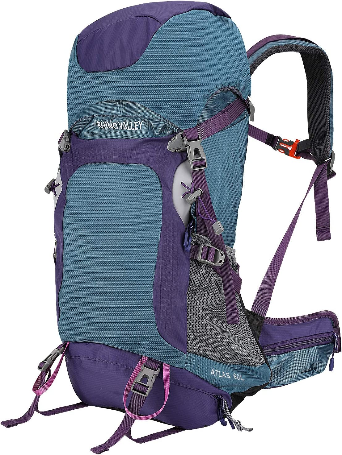 Rhino Valley 60L Internal Frame Hiking Backpack, Durable Daypack with Rainfly for Outdoor Travel Climbing Camping Mountaineering