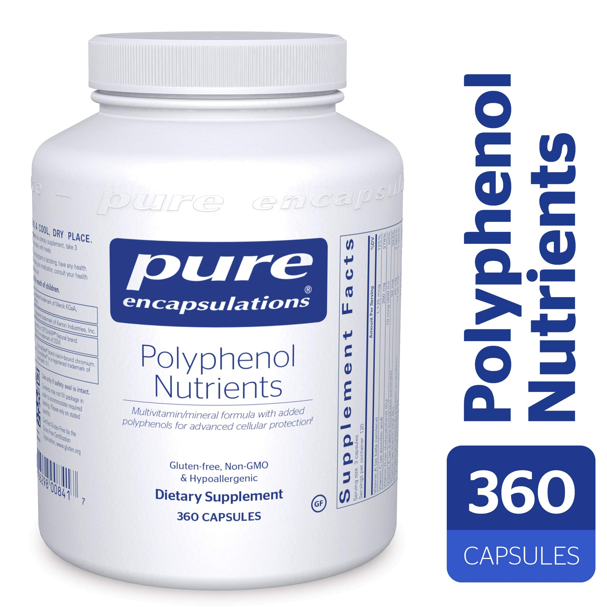 Pure Encapsulations - Polyphenol Nutrients - Hypoallergenic Nutrient Dense Multivitamin/Mineral Formula - 360 Capsules