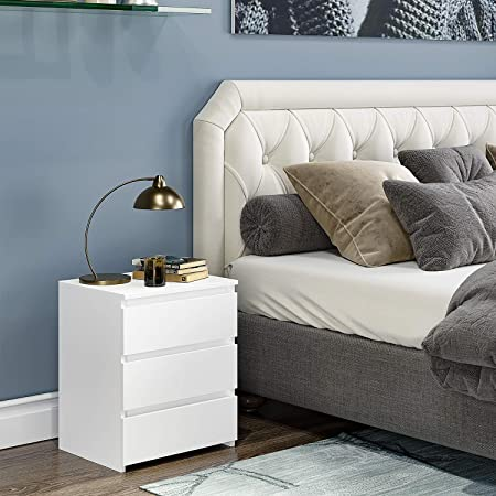 Homfa Mesita de Noche con 3 cajones Mesa de sofá Mesa Auxiliar para salón Blanco (45x38x55.5cm)