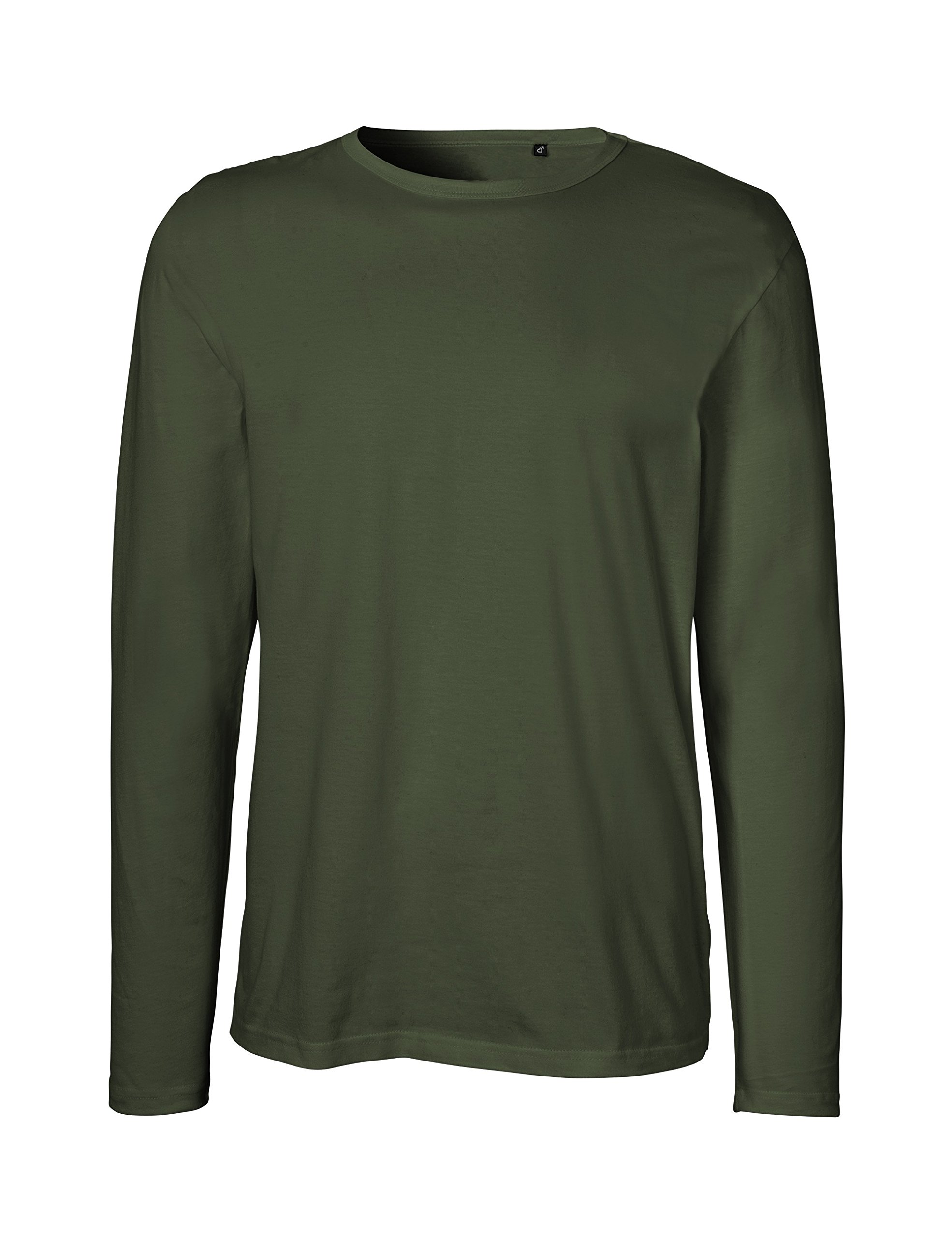 Green Cat Neutral Mens Long Sleeve T-Shirt, 100% Organic Cotton and Fairtrade Certified, Color Military, Size L