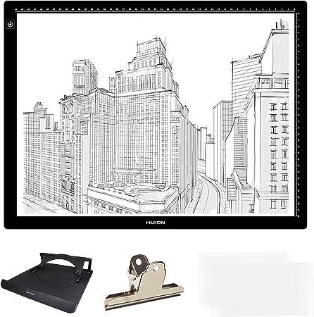 Huion - Bloc de luz LED (longitud diagonal) para dibujo, caja de copia, plantilla, tatuaje, mesa con