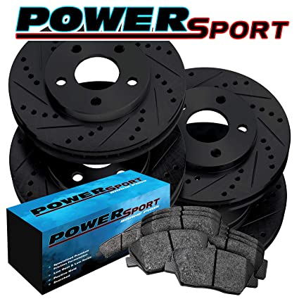 FRONTS 81544 Power Sport Cross Drilled Slotted Brake Rotors and Ceramic Brake Pads Kit