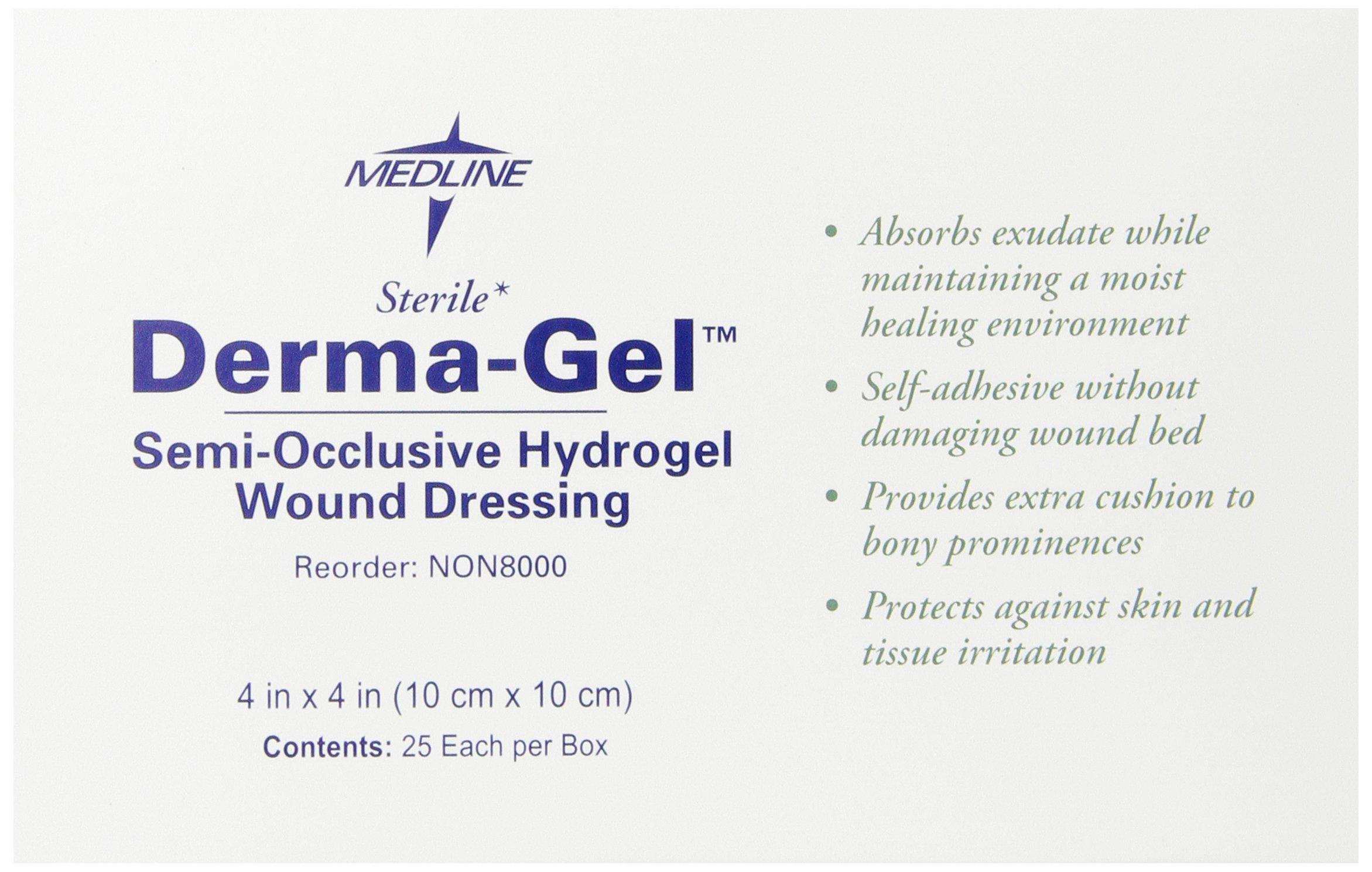 Medline Dressing Derma-gel Hydrogel Wafer, 4 Inch x 4 Inch, 25 Count by Medline