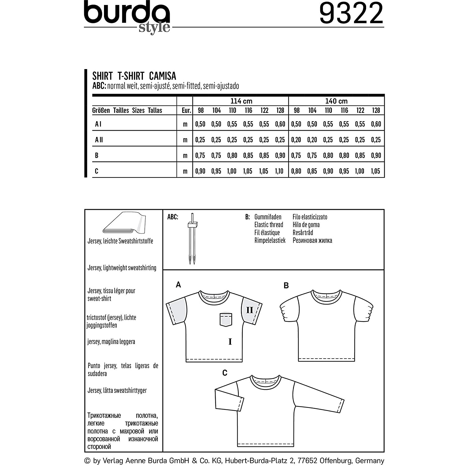 Amazon.com: Burda Style Sewing Pattern 9322 - Childrens Top, A(3-4-5-6-7-8): Arts, Crafts & Sewing