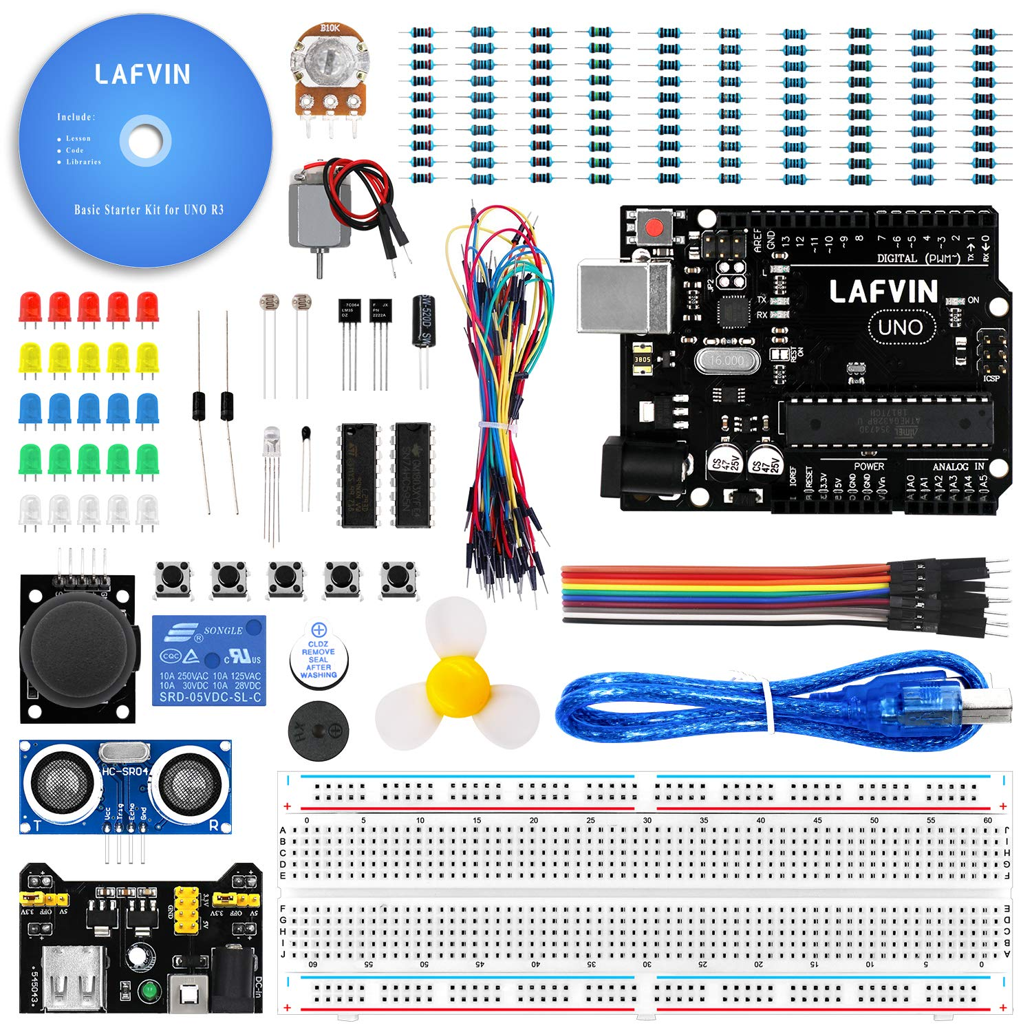 Lafvin The Basic Starter Kit For Arduino With Uno R3 Tutorial Lesson 3 Breadboards And Leds Breadboard Led Resistorjumper Wires Power Supply Computers Accessories